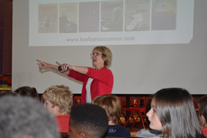 Barbara O'Connor presenting to students